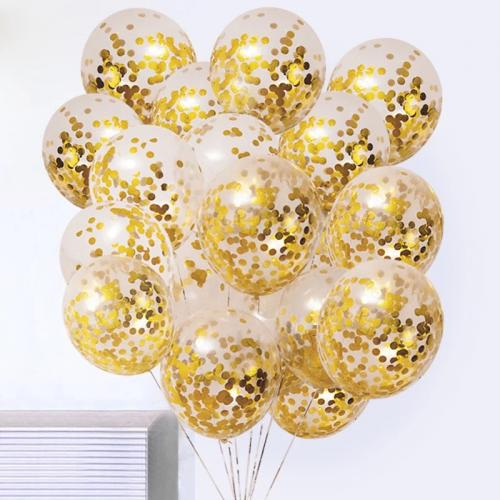 Konfetti Ballonger i Guld. 30cm. 5 pack.