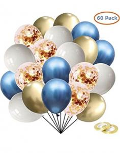 Ballong Bukett Kit i Blå/Guld Chrome. 60 Pack