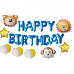 """""""Happy Birthday"""" Ballong set med Djur."""