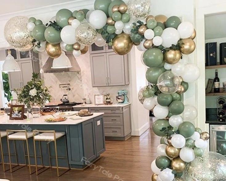DIY Luxury Ballongbåge - Pistasche/Chrome. 117 Delar