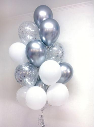 Ballong Bukett i Vit/Silver Chrome. 15 Pack