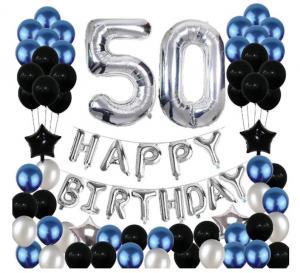 50th Happy Birthday Dekorations Kit I Blå/Silver/Svart. All inklusive set. StorPack.