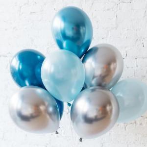 Ballong Bukett i Blå/Silver Chrome. 10 Delar