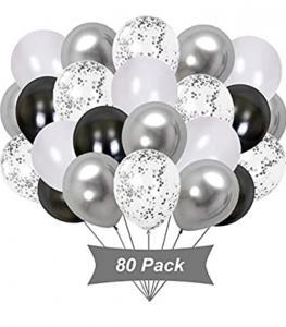 Ballong Bukett Kit i Svart/Silver. 80 Pack