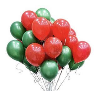 Jul Ballong Bukett i Grön/Röd. 20 Pack.