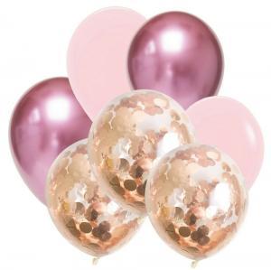 Ballong Bukett i Rosa/RosaGuld. 7 Pack