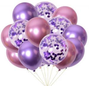 Ballong bukett I Rosa/Lila konfetti Chrome. 15 Pack.