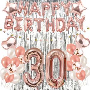 30th HAPPY BIRTHDAY Ballong set i Rosaguld/Silver ink Draperi.