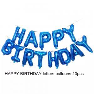 """Happy Birthday"" Ballong set i Blå."