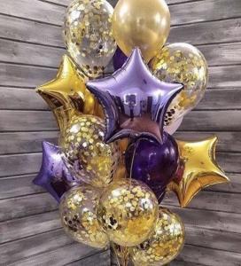 Ballong Buket i Guld och Lila.