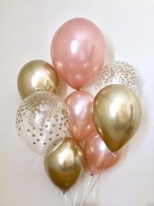 Ballong Bukett i RosaGuld/Guld Chrome. 10 Delar