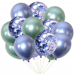 Ballong bukett I Blå/Grön konfetti Chrome. 15 Pack.