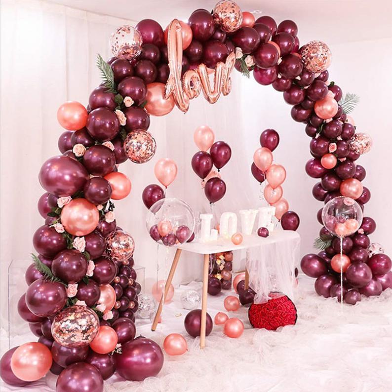 DIY Ballongbåge - LOVE Vinröd. 91 Delar