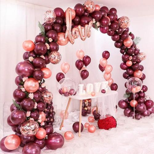 DIY Ballongbåge - LOVE Vinröd. 101 Delar
