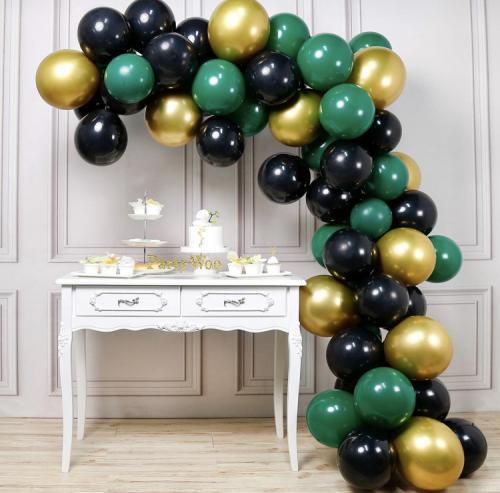 DIY Elegant Ballongbåge i Svart/Grön/Guld.  60 Delar.
