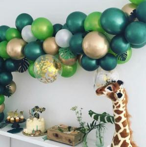 DIY Ballongbåge Tropical i Grön/Guld Chrome. 75 Delar