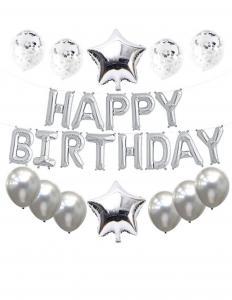 """""""Happy Birthday"""" Ballong set i Silver."""