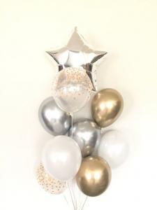 Ballong Bukett i Pärlvit/Guld/Silver Chrome. 10 Pack