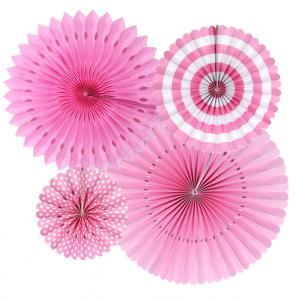 Paper fans i Rosa dekorationsset. 4 Pack