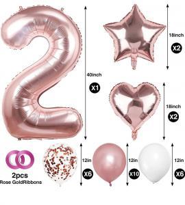 2nd BIRTHDAY Ballong set i Rosaguld.