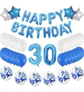 30th Happy Birthday Dekorations Kit i Blå.