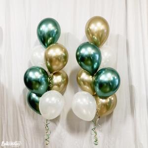 Ballong Bukett Grön/Guld Chrome. 15 Pack