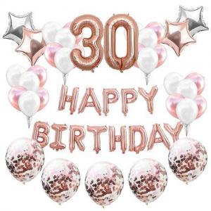 30th HAPPY BIRTHDAY Ballong set i Rosaguld/Silver.