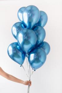 Chromeballonger i Blå. 10 pack.