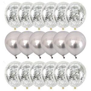 Silver Chrome/Konfetti Ballong Set. 20 Delar