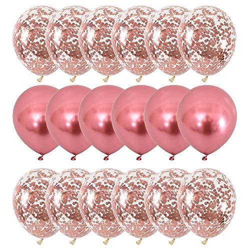 Ljus Rosa Chrome/Konfetti Ballong Set. 20 Delar