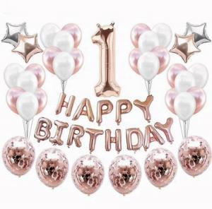 1st HAPPY BIRTHDAY Ballong set i Rosaguld/Silver.