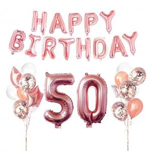 50th HAPPY BIRTHDAY Ballong set I Rosaguld.