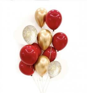 Ballong Bukett Cherry Röd/Guld Chrome. 10 Pack