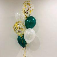 Ballong Bukett Grön Emerald/Pärlemor. 9 Pack