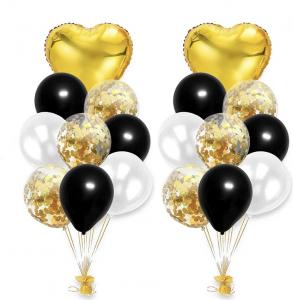 Ballong Bukett i Guld/Svart/Pärlvit.  20 delar.