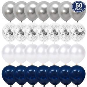 Ballong Set i Marinblå/Vit/Silver. 50 pack.