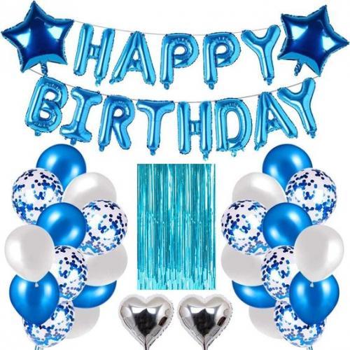 """Happy Birthday"" Ballong set I Blå ink Draperi."