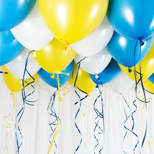 Ballongtak Bukett Pastell Blå/Gul. 30 Pack