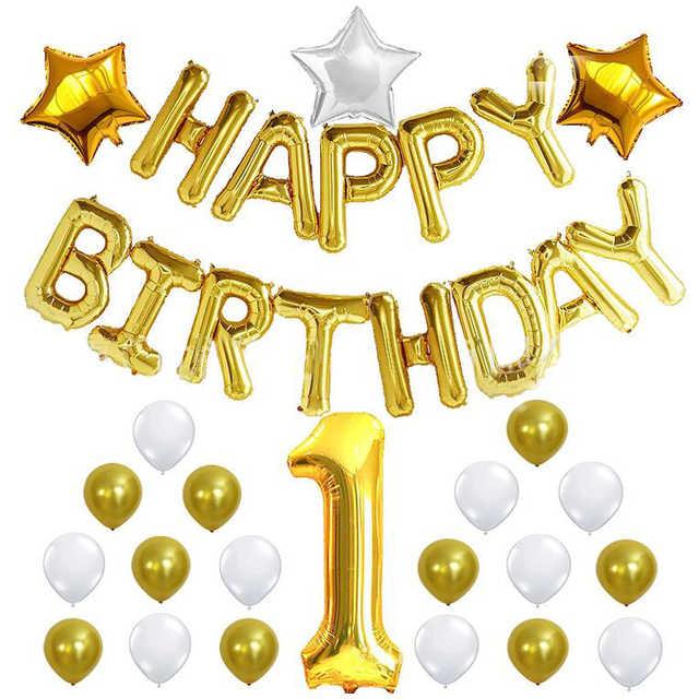 1st HAPPY BIRTHDAY Ballong set i Guld.