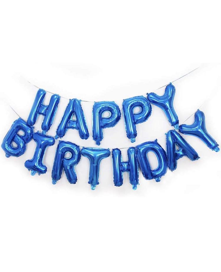 Happy Birthday Folie Ballonggirlang i Blå.