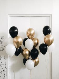 Ballong Bukett i Guld/Svart/Vit. 21 Delar