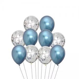 Ballong Bukett i Blå Chrome/Silver Konfetti. 10 Pack