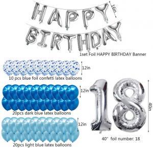 18th Happy Birthday Dekorations Kit I Blå/Silver. All inklusive set. StorPack.