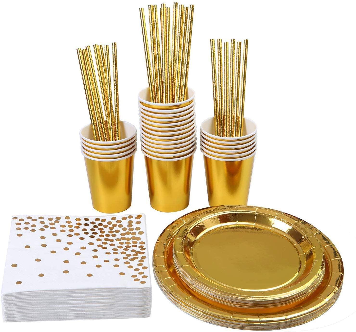 Dukning Set i Guld Folie för 8 person.