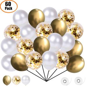 Utmärkt Ballong Bukett i Guld/Vit. 60 Pack.