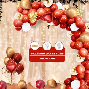 DIY Ballongbåge - Cherry Röd ink Guld Aloha Blad. 87 Delar