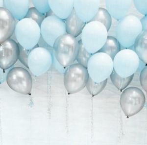 Ballong Bukett Pastell Blå/Silver Metallic. 30 Pack