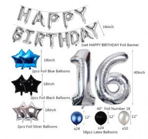 16th Happy Birthday Dekorations Kit I Blå/Silver/Svart. All inklusive set. StorPack.