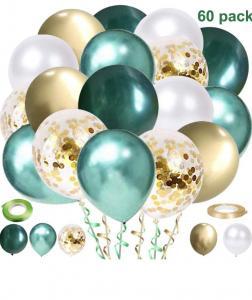 Ballong Bukett i Grön/Vit/Guld. 60 delar.