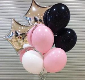 Ballong Bukett i Silver/Pastell Rosa.